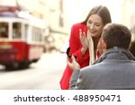vintage marriage proposal... | Shutterstock . vector #488950471