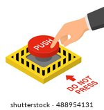 hand pressing red emergency... | Shutterstock .eps vector #488954131