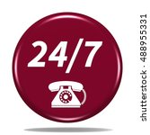 24 7 support phone icon.... | Shutterstock . vector #488955331