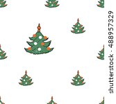 christmas seamless pattern with ... | Shutterstock .eps vector #488957329