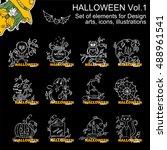 vector set of halloween... | Shutterstock .eps vector #488961541