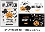 halloween party poster  flyer ... | Shutterstock .eps vector #488963719