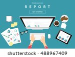 human hands typing on the... | Shutterstock .eps vector #488967409