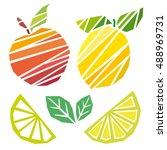 vector peach and lemon... | Shutterstock .eps vector #488969731