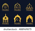 gold arabic windows and doors... | Shutterstock .eps vector #488969875
