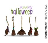 happy halloween card with... | Shutterstock .eps vector #488972461