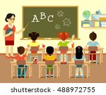 different multicultural school... | Shutterstock .eps vector #488972755