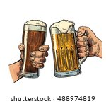 two hands holding and clinking... | Shutterstock .eps vector #488974819