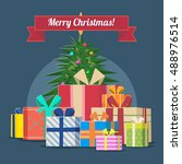 vector christmas tree with gifts | Shutterstock .eps vector #488976514
