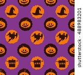 vector circles halloween... | Shutterstock .eps vector #488983201