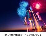 firework rockets launching into ... | Shutterstock . vector #488987971