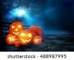 a group of halloween jack o... | Shutterstock . vector #488987995