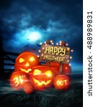 happy halloween background... | Shutterstock . vector #488989831