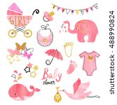 watercolor baby shower girl set.... | Shutterstock .eps vector #488990824