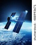 a modern satellite orbiting...   Shutterstock . vector #488993671