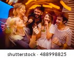 people in night club dancing ... | Shutterstock . vector #488998825