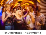 people in night club dancing ... | Shutterstock . vector #488998945