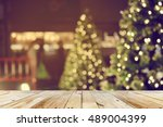 rustic wood table in front of... | Shutterstock . vector #489004399