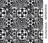 mandala abstract black and...   Shutterstock .eps vector #489004945
