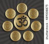 chakra pictograms and symbol om ... | Shutterstock .eps vector #489008875