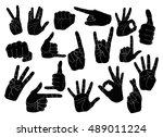 hand gestures set | Shutterstock .eps vector #489011224