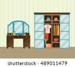 bedroom interior with dresser  ... | Shutterstock .eps vector #489011479