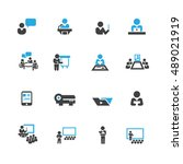 presentation and business icons ...   Shutterstock .eps vector #489021919