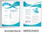 vector brochure flyer design... | Shutterstock .eps vector #489025405