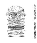 illustration of a burger ... | Shutterstock .eps vector #489025819