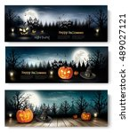 three holiday halloween banners ... | Shutterstock .eps vector #489027121