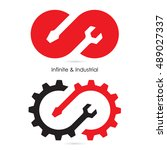 infinite and industrial logo... | Shutterstock .eps vector #489027337