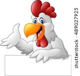 cartoon rooster holding blank... | Shutterstock . vector #489027925