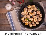 button mushrooms with garlic... | Shutterstock . vector #489028819