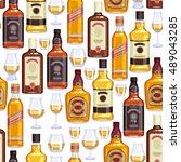 whisky bottles and glasses... | Shutterstock .eps vector #489043285
