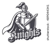 monochrome knight sport logo on ...   Shutterstock .eps vector #489044341