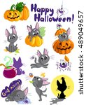 stickers set for halloween with ...   Shutterstock .eps vector #489049657