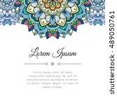 hand drawn mandala floral... | Shutterstock .eps vector #489050761