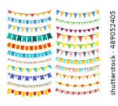 large set of colorful bunting... | Shutterstock .eps vector #489052405