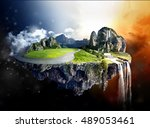 the floating island  | Shutterstock . vector #489053461
