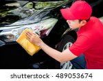 auto service staff in red... | Shutterstock . vector #489053674