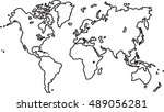 freehand world map sketch on... | Shutterstock .eps vector #489056281