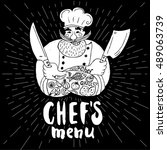 chef's menu logo. chalkboard ...