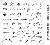 hand drawn arrows  vector set | Shutterstock .eps vector #489064015
