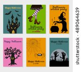 set of  halloween cards. vector ... | Shutterstock .eps vector #489064639