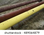 yellow gas and oil pipes for... | Shutterstock . vector #489064879