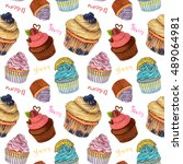 hand drawn sweet cupcakes ... | Shutterstock . vector #489064981