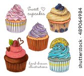 illustrations sweet cupcakes.... | Shutterstock . vector #489064984