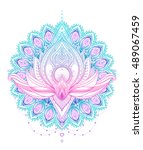vector ornamental lotus flower  ... | Shutterstock .eps vector #489067459
