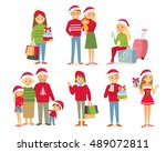 people and christmas season | Shutterstock .eps vector #489072811