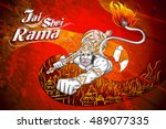 lord rama in happy dussehra... | Shutterstock .eps vector #489077335